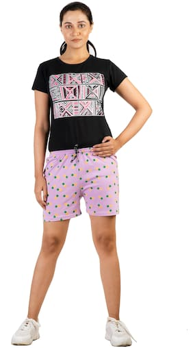 Powermerc Quirky Cotton Printed Shorts for Girls and Women
