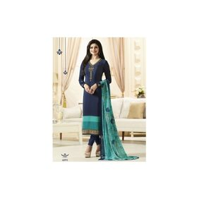 Prachi Desai Royal Blue Embroidered with Printed Crepe Straight Salwar Suit