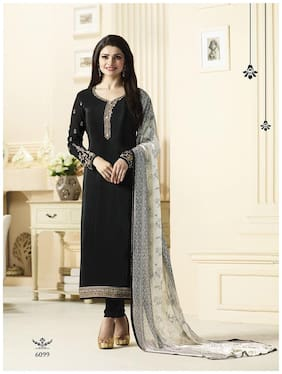 Stylish Fashion Crepe Printed Dress Material for Kurta & Bottom - Black