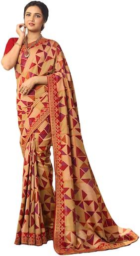 KSNDV Trendz Women Silk Party Wear Saree (Beige)