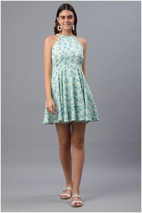 Pretty Loving Thing White Printed Pattern A- Line Sleeveless Women Short Dress-Size XS