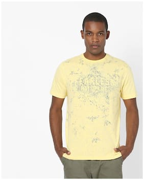 99f66d49 DNMX By Reliance Trends Men Regular Fit Round Neck Graphic Print T-Shirt -  Yellow