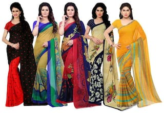 Printed Daily Wear Georgette Saree  (Pack of 5, Multicolor)