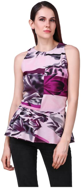 Printed peplum top;sleeveless with back key hole