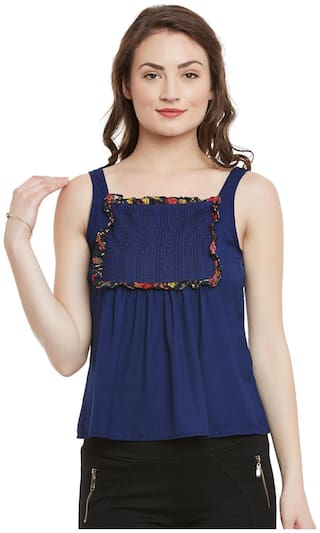 The Vanca Printed Sleeveless Flared Top With Lace And Ruffle Detail