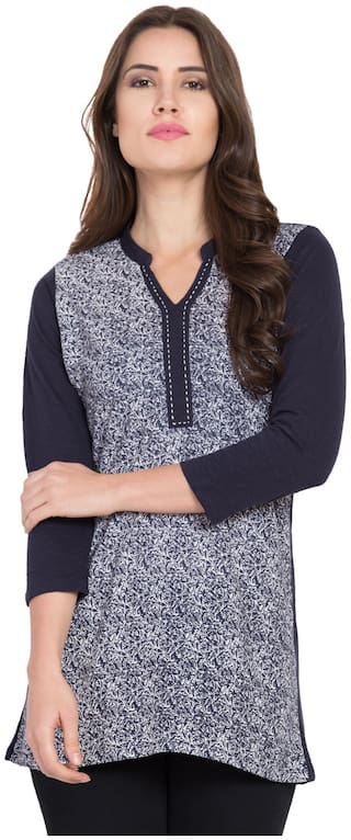 STITCH VASTRA Women Printed A-line top - Blue