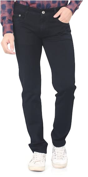 Private Image Men Black Relaxed Fit Jeans