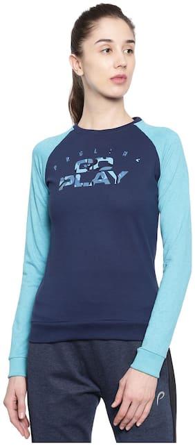 Proline Women Solid Sweatshirt - Blue