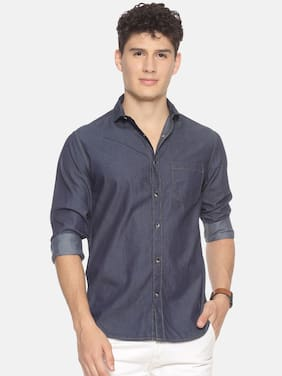 Prototype Men Blue Solid Slim Fit Casual Shirt