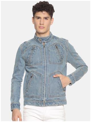Prototype Men Blue Solid Biker jacket