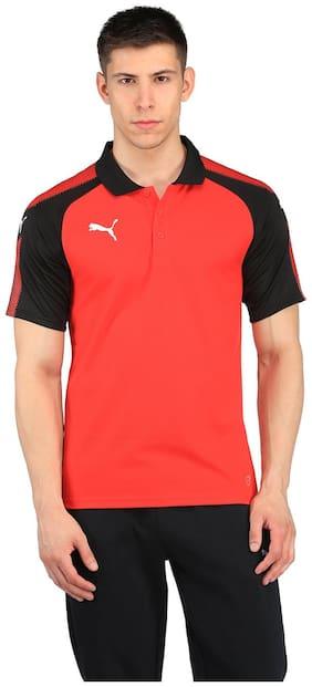 Puma Men Polo neck Sports T-Shirt - Red