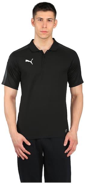 Puma Men Polo Neck Sports T-Shirt - Black