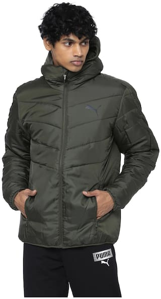 Puma Men Green Solid Quilted jacket