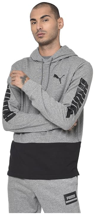 Puma Cotton Blend Men Grey Pullover