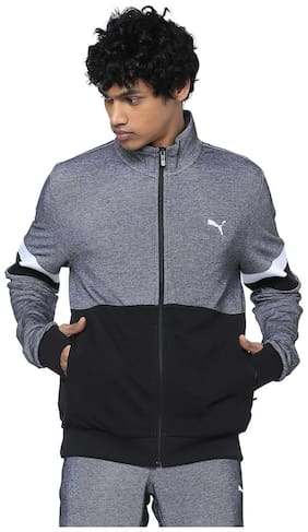 Men Cotton Blend Long Sleeves Quilted Jacket