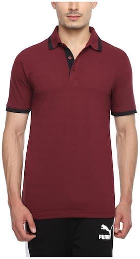 Puma Men V Neck Sports T-Shirt - Maroon