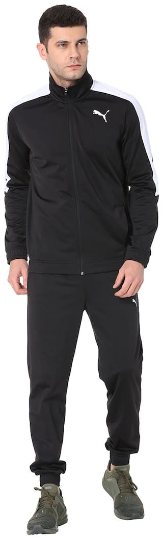 Puma Men Black Solid Regular Fit Track Suit