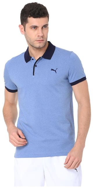94f945ab0a Buy Puma Men Polo Neck Sports T-Shirt - Blue Online at Low Prices in ...