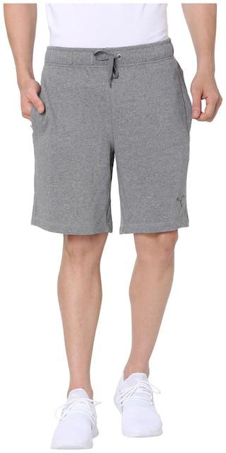 Puma Men Grey Cotton Shorts