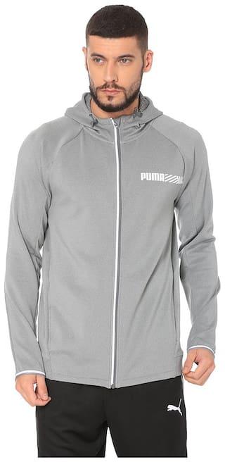 PUMA Men Polyester Sports Jackets & Sweatshirts Grey