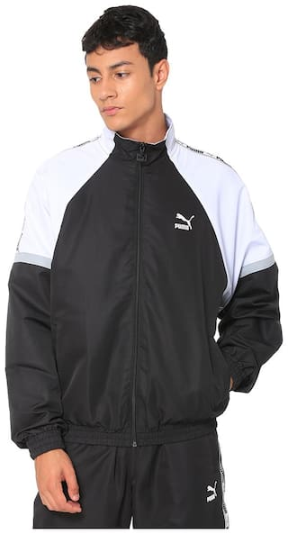 PUMA Men Polyester Sports Jackets & Sweatshirts Black;White
