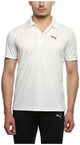 Puma Men V neck Sports T-Shirt - White
