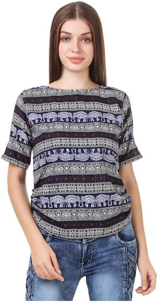 Purplehuez Women Printed Regular top - Blue