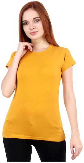 Purplehuez Women Mustard Regular fit Round neck Cotton T shirt