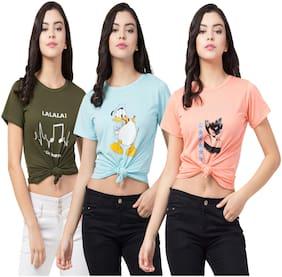 Purplehuez Women Multi Regular fit Round neck Cotton T shirt