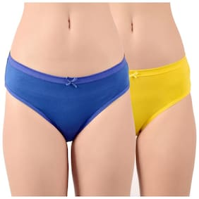 Purplehuez Pack Of 2 Solid Low waist Hipster Panty - Blue & Yellow