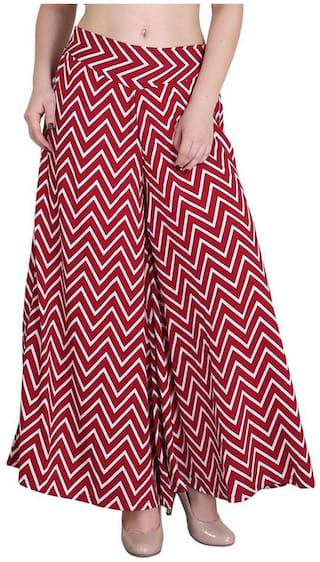 Purplehuez Red Geometric Straight Palazzo