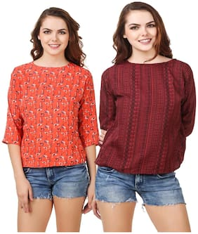 Purplehuez Women Printed Regular top - Orange & Maroon