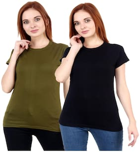 Purplehuez Women Regular Fit Round Neck Cotton T Shirt (Pack Of 2) -Black;Olive