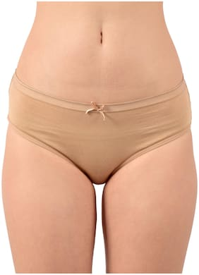 Purplehuez Pack Of 1 Solid Low waist Hipster Panty - Beige