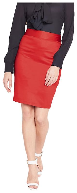 ff1504e19 Buy Purplicious Red Formal Pencil Skirt Online at Low Prices in ...