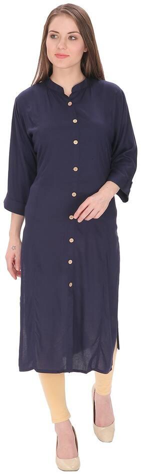Purplicious Women Blue Solid Straight Kurta
