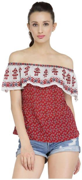 Purplicious Women Printed Regular top - Red