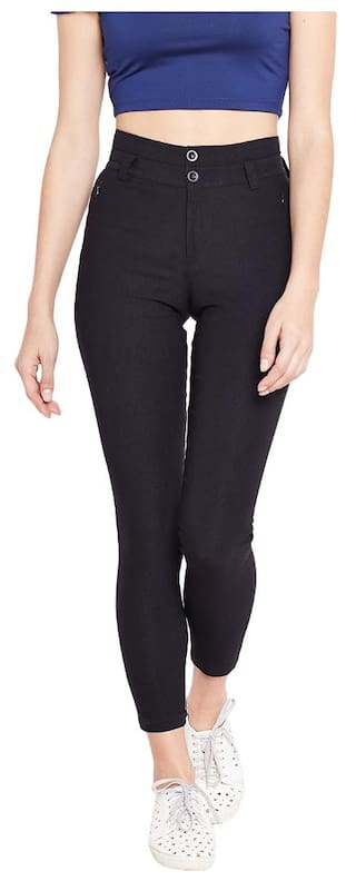 Purplicious Black Jeggings with Buttons and Pockets Details