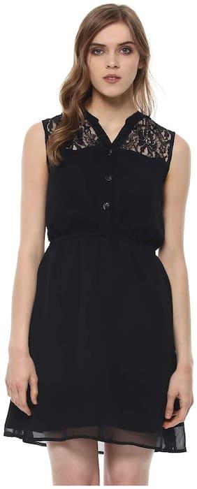 Purplicious Black Printed A-line dress