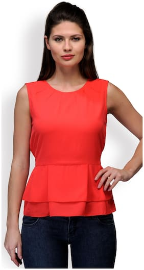 Purplicious Women Solid Regular top - Orange