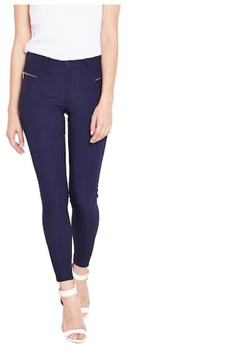 Purplicious Blue Jeggings with Gold Zipper and Pockets
