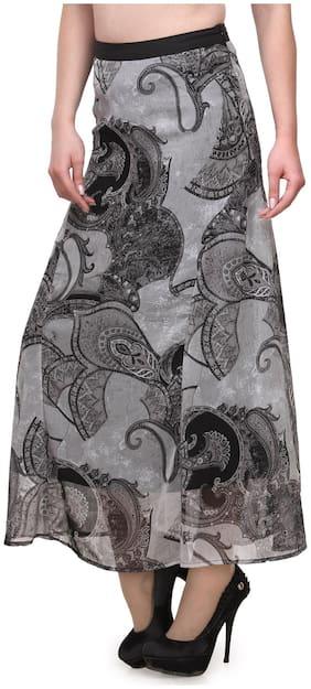Purplicious Printed Skirt - Grey