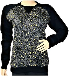 Qamash Women Printed Sweatshirt - Black