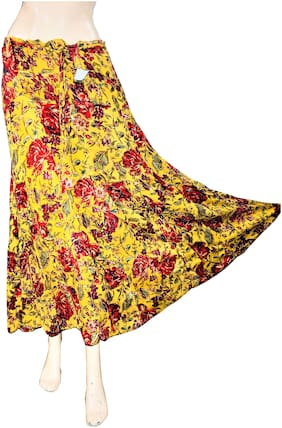 Qamash yellow floral long skirt for her