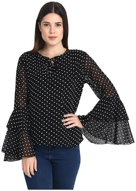 Women Polka Dots Keyhole Top ,Pack Of 1
