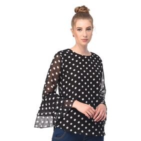 Raabta Black with white Dot Print Bell Sleeve Top