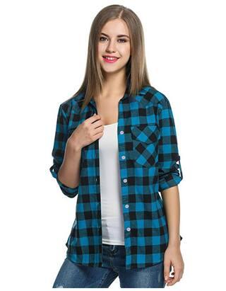 Raabta Fashion Women Blue Checked Regular Fit Shirt