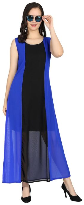 Raabta Fashion Georgette Solid A-line Dress Blue & Black