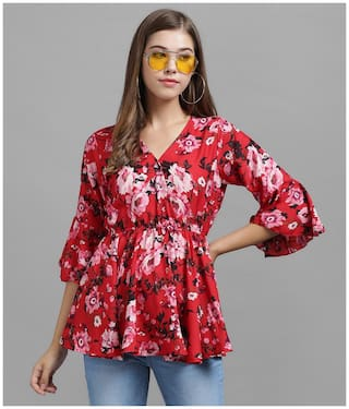 Raabta Fashion Women Floral Regular top - Maroon