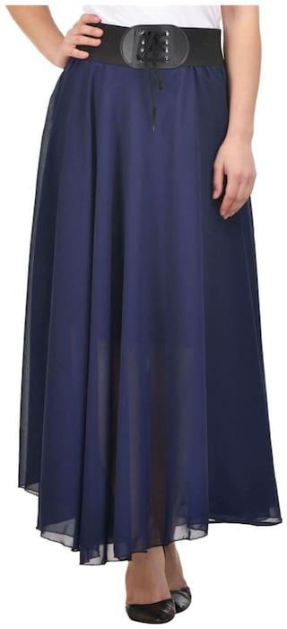 Raabta Navy Long Flared Skirt